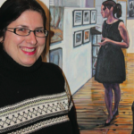 Christine Montague poses with her most recent painting that features her favourite model, her daughter.
