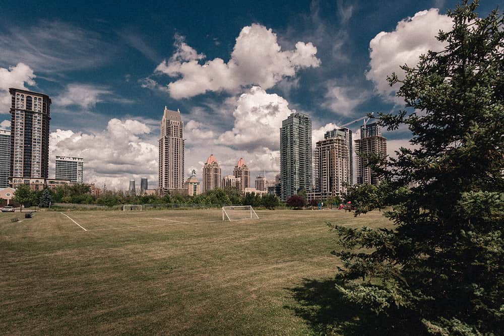 Mississauga soccer field and skyscrapers